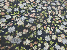 "Navy ""Blossoms"" Summer Floral Printed 100% Cotton LAWN/VOILE Fabric"