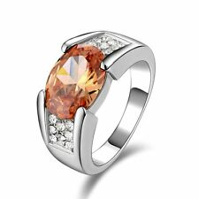 Hot Jewelry Size 8 Topaz 18K Gold Filled  Anniversary Rings For Men&Women