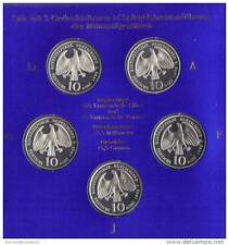 germania 10 mark argento silver 1998 A d f g j 5 monete in blister ufficiale