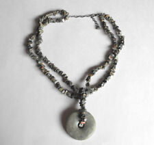 """NATURAL GREEN JADE NUGGET Style Necklace & Large Donut Shape Pendant 21"""" Length"""