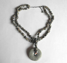 "NATURAL GREEN JADE NUGGET Style Necklace & Large Donut Shape Pendant 21"" Length"