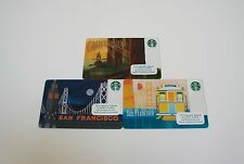 STARBUCKS NEW GIFT CARDS: SAN FRANCISCO CABLE CAR, FERRY BLDG & REDWOODS  SET 3