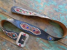 Vtg 30s 40s Antique Western Jeweled Swastika Motorcycle Buckle With Studded Belt