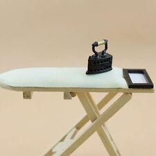 Miniature Bedroom Mini Craft Ironing Board Table & Mini Iron for Dollhouse Decor
