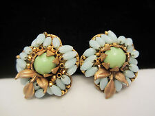 """Rare Vtg 1"""" Signed Miriam Haskell Hand Wired Faux Glass Bead Clip Earrings A18"""