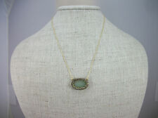 """NEW House of Harlow Gold-Tone Jasper Stone Pave Oval Pendant Necklace 18"""" $88"""