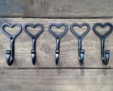 5 X HAND MADE HEART HOOK SHAKER LOVE WROUGHT IRON COAT HOOKS VINTAGE SHABBY CHIC