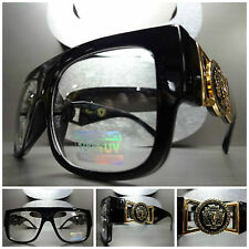 VINTAGE HIP HOP RAPPER GANGSTER PARTY Clear Lens EYE GLASSES Glossy Black & Gold