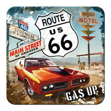5x ROUTE 66 - GAS UP - METALL UNTERSETZER 9x9cm COASTER 46109
