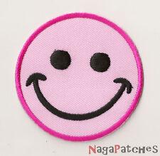 PP-05  Ecusson écusson brodé patche thermocollant Smiley Rose pink