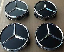 4x 75mm Wheel Centre Caps, ALLOY WHEELS Black to fit Mercedes Benz