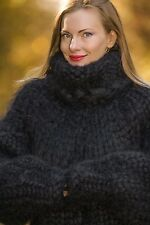 SUPERTANYA Hand Knitted Mohair Sweater BLACK MEGA THICK Thick Jumper 25 strands