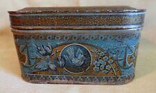 """Rare, Antique tin box with Victorian grafics  """"Famous Fruit Cake, Buffalo, NY"""""""