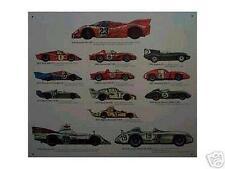 Altes Blechschild Oldtimer Renn_wagen Porsche Ferrari Jaguar Ford gebraucht used
