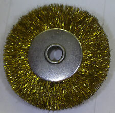 "1"" BRASS CRIMPED BRISTLE BRUSH METAL HUB  UNMOUNTED WHEEL 1/8"" CENTER HOLE 12pc"
