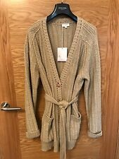 ESCADA SPORT CHUNKY KNIT GOLD COTTON OVERSIZED CARDIGAN Size L