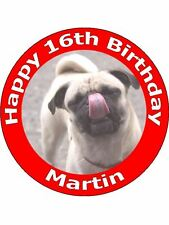"7.5"" PERSONALISED PUG DOG & PUPPY FAIRY BIRTHDAY CAKE TOPPERS ON RICE PAPER"