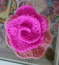 HAND CROCHETED PINK ACRYLIC FLOWER BROOCH PIN FOR CLOTHES SCARFS HATS BAGS