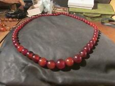Fabulous Art Deco Cherry/Cognac Amber Bakelite Bead Necklace,Marbled, Tested,97g