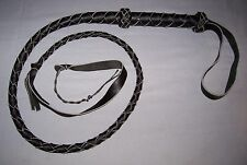 4 Foot  4 Plait  BLACK Leather CATWOMAN BULL WHIP Bullwhip with Nylon Cracker