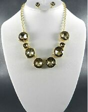 Gold and Light Brown Round Crystal Necklace Set