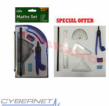8 PIECE MATHS STATIONERY SET & CARRY CASE SCHOOL RULER PROTRACTOR COMPASS