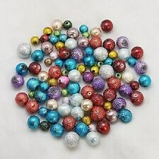 50g x Textured Moon Surface Glass Pearl Beads, Mixed Colour & Size