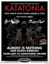 """KATATONIA / SWALLOW THE SUN 2010 """"NEW KNIGHT OVER AMERICA TOUR"""" CONCERT POSTER"""