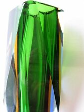 "LARGE GORGEOUS MURANO MULTI-COLOR GREEN FACETED GLASS VASE 9.45"" IDEAL MODERN"