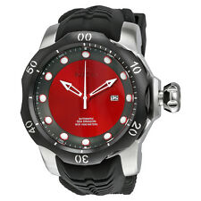 Invicta Venom Automatic Red and Grey Dial Black Silicone Strap Mens Watch 19309