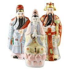 Lot of 3 Hand-Glazed Porcelain Fuk Luk Guanyin Figures, Great Condition, Unique!