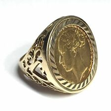 9ct Gold Full Sovereign Ring - Year 1876 - Size R / S