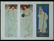 FIGURES ART NOUVEAU -1910- LITHOGRAPHIE, EDOARDO BARONCINI, CERAMIQUE