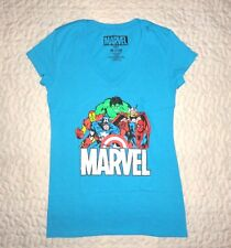 Marvel Super Heroes Junior Girls V-Neck Short Sleeves Turquoise Tee Shirt Medium