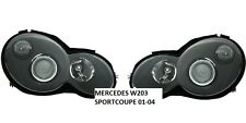 BLACK PROJECTOR HEADLIGHTS MERCEDES W203 C CLASS SPORTCOUPE COUPE 10/00-04/2004
