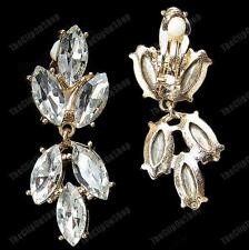 CLIP ON gold fashion BIG CRYSTAL EARRINGS marquis rhinestone SPARKLY GLASS
