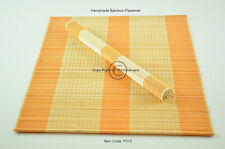 4 Bamboo Placemats, Handmade Table Mats, Small Defects, Orange-Cream, P010