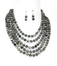 Gold and Gray Marbled Pearl Looking FASHION Necklace Set