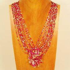 "8"" Pink Gold Stone Chip Cluster Handmade Seed Bead Necklace FREE SHIPPING!"