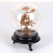 """Chinese Cork Sculpture Picture w/ Cranes Wood Base Encased Dome Glass 3.5""""H"""