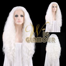 """Long Curly Wavy 28"""" Pure White Lace Front Synthetic Wig Heat OK"""