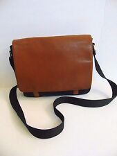 Fossil Aiden Messenger Bag BLACK / BROWN LEATHER Book Bag / Briefcase Laptop Bag