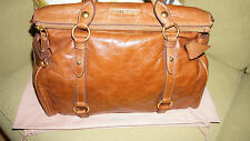 MIU MIU Vitello Lux Large Bow Satchel in Palissandro Brown Leather  - Preowned