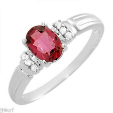 Tourmaline and Genuine Diamond Ring, 0.50CTW, Size 7, in Solid 10K White Gold
