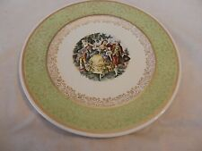 Vintage Colonial Couple Dancing Plate from Royal China Inc. Light Green (H1)