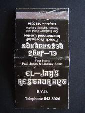 EL-JAYS RESTAURANT BYO BLACKBURN RD PRINCES HWY CLAYTON 5433026 MATCHBOOK