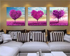 "New DIY Acrylic Paint By Number 16X20"" kit Oil Painting Three Parts Love Trees"