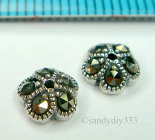 2x OXIDIZED STERLING SILVER MARCASITE BEAD CAP 6.2mm #1450
