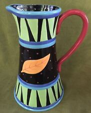 """Vintage BELLA CASA by GANZ ~ 11 1/2"""" high PITCHER hand painted with flowers"""