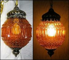 "Retro Re-Wired Hanging Amber Swag Light/Lamp 14""x8"" Flash Paint Peeling VGC"